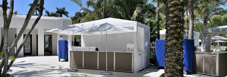 Custom Weatherproof Resort and Waterpark Pool Kiosk Desk and Locking Cabinets