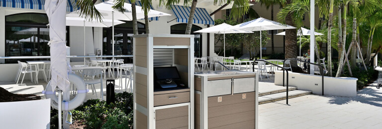 Weatherproof POS Cabinet and Modern Commercial Combination Trash and Recycling Receptacle