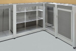 Large Valet Desk and Receiving Counters with hidden trash bin, key locker, package storage, and fridge nook