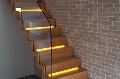 Zig Zag staircase in wood with LED