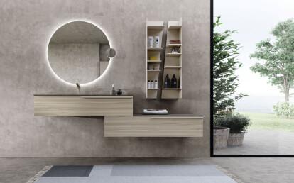 Kros Storage Shelves with Urban Vanity and LOOP Mirror