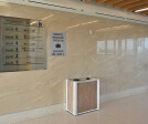 """DeepStream's Custom Modern """"no-touch"""" Commercial  Trash and Recycling Receptacle with 3form panels"""
