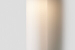 Articolo Float Hover Tall Wall Sconce, satin nickel with latte leather inlay, snow shade