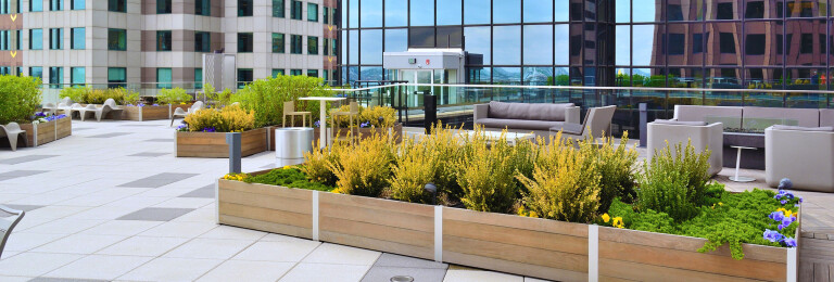 The Modular design of DeepStream Mariner commercial planters eliminates the need for cranes, while allowing for repositioning should the roof membrane need maintenance, or repurposing should the building's needs change over time.
