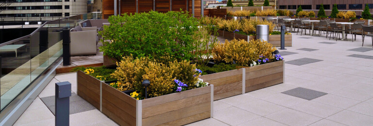 Mariner Planters have an integrated structural aluminum frame that supports and anchors optional gates, doors, and screen walls to control access, direct traffic, provide security and privacy, block wind, and contain unsightly or dangerous equipment.