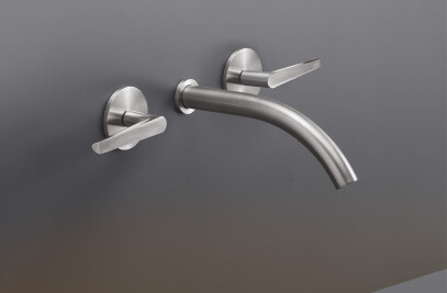 FLG10 - Wall mounted dual handle mixer with spout L. 170 mm
