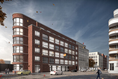 The planned industrial architecture of the early 20th century becomes imaginable: red brick, aluminium profiles and glass will shape the outer appearance of the building.