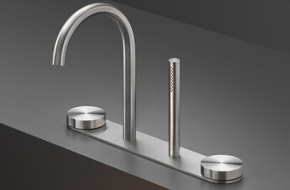 GIO111 - Rim mounted set of 2 progressive mixers with spout H. 245 mm and retractable cylindrical hand shower Ø 18 mm