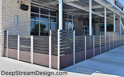 Architectural Anodized Aluminum Screen Wall anchored by integrated Commercial Restaurant Planters