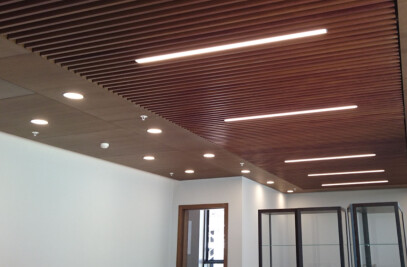 BAFFLE SUSPENDED CEILING SYSTEM- PERFORATED-WOODEN