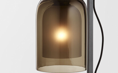 Lumi Table Lamp Articolo Black with smoke/ frosted smoke shade