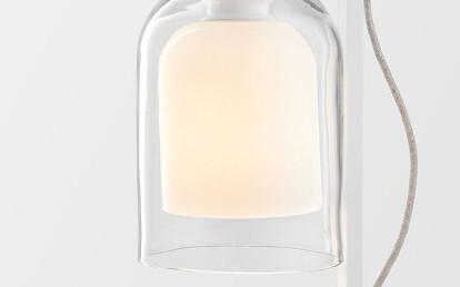 Lumi Table Lamp Matte White with clear/white shade