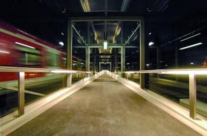 Illuminated handrails train station Germany