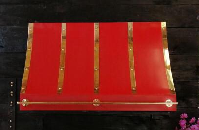 Eugene Range Hood - Red & Brass