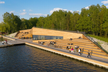 Built form merges with landscape and wharf in a dynamic lakeside proposal