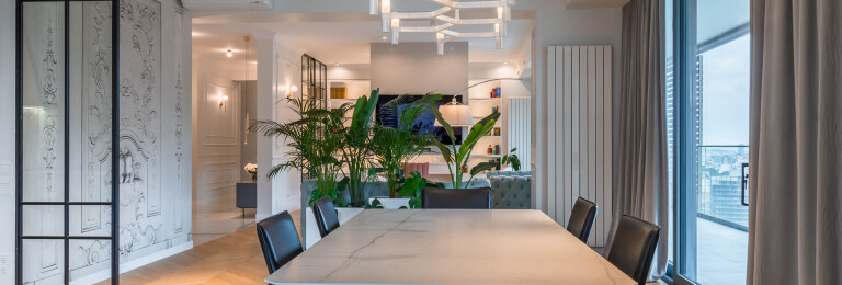 dining area separated with plants