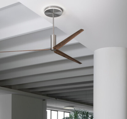 ARC03 - Ceiling fan in AISI 316L stainless steel, with wood and carbon fiber blades, natural wood essence or lacquered