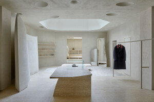 Maison Margiela flagship boutique in London features a hand-spun gypsum tactility