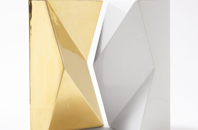 VERSO SET OF 2 GOLD AND WHITE VASES BY ANTONIO SAPORITO_TRAVERTINI&PIETRE