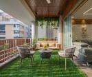 The garden entrance is creatively done, distinctive use of wood in flooring and ceiling with little green patch looks mesmerizing.