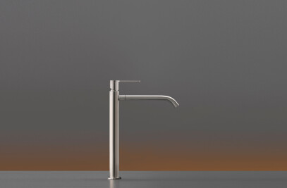 INV05 - Deck mounted mixer for countertop basin H. 315 mm with swivelling spout for gush flow, opening in cold water