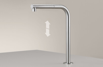 FRE148 - Deck mounted up and down swivelling spout with pull-out hand shower