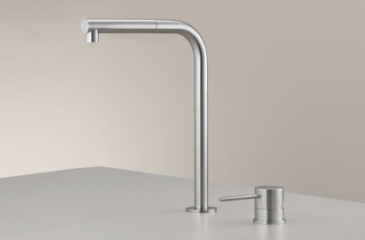 MIL209 - Two-hole mixer with swivelling spout H. 310 mm and pull-out hand shower