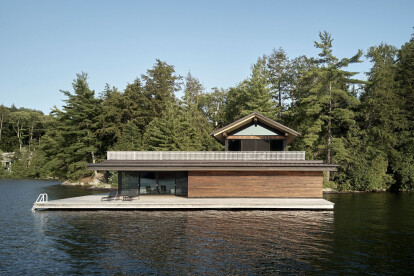 Metrick Cottage and Boathouse maintains a quiet presence on the water