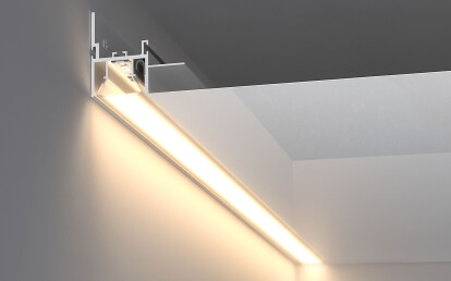 FOLED-BOK - lighting fixture and frame for a stretched ceiling