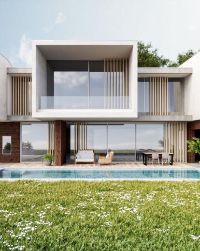 Exterior render of a villa