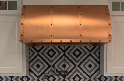"""Custom Copper and Brass Range Hood """"Winston"""" by Amoretti Brothers"""
