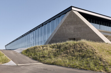 Landmark Lausanne Football Stadium displays a generous folded geometry