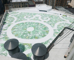 Built in 1922, San Francisco's historic Warfield Theatre wasn't designed to support a rooftop garden. As an alternative, Surfacedesign conceived a faux green roof.