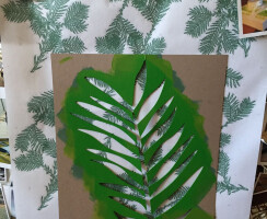 Oversized stencils of Coast Redwood leaves were mocked up to finalize the pattern.