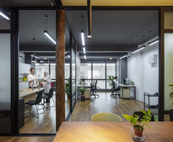 The overview of the office interior
