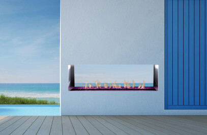 J Series M2: See-Through Outdoor Gas Fireplace