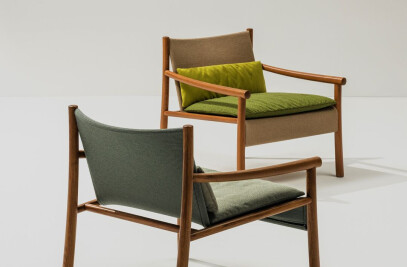 Kata - Armchair 4 wood legs Outdoor