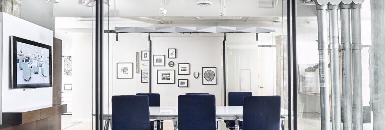 Oden Glass Mount Sliding Door Hardware in Black Stainless