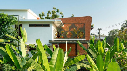"""Tropical contemporary residence in Kerala  """"House of Earthy Hues"""""""