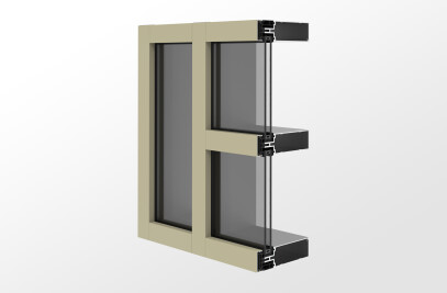 YCW 752 OGP Outside Glazed Pressure Wall System with Polyamide Pressure Plates