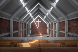 Simple abstraction and minimalist detailing define the uplifting Jinan Changzhuang Church