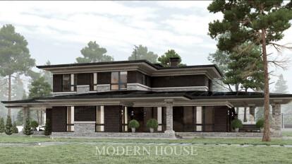Дом из кирпича в стилистике Ллойда Райта