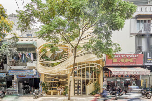 Intriguing façade and café brand design inspired by bird's nest concepts and imagery