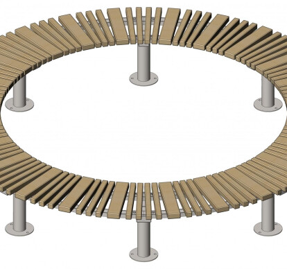 Street curved bench Star