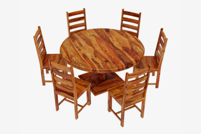 Furniture BoutiQ Hosford Solid Wood Round Dining Table With 6 Chairs Set