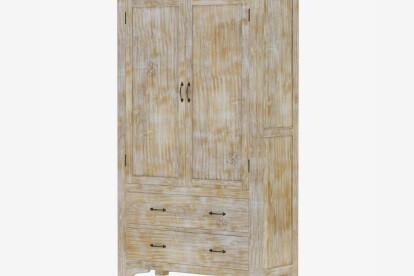Furniture BoutiQ Elba Rustic Mango Wood Large White Armoire Wardrobe With Drawers