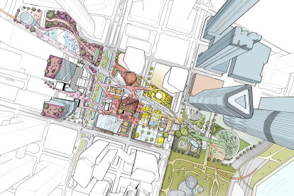 The design concept is to stitch a dozen pockets of land and surrounding urban fabric back together