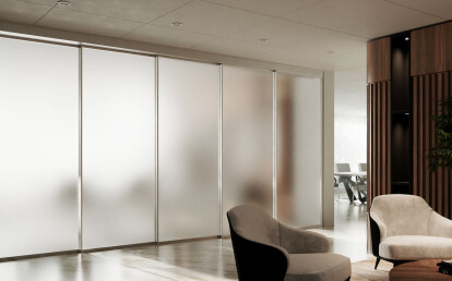 Meeting room: EXPO in brushed clear anodized with frosted glass