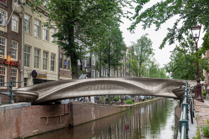 Dutch technology startup MX3D completes world's first 3D printed stainless steel bridge over an Amsterdam canal