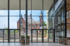 Glass facade provides the space with plenty of daylight